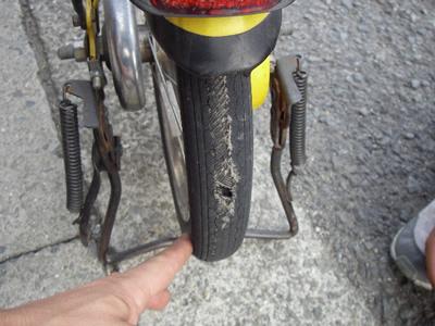 子供の自転車のタイヤが磨り減 ...
